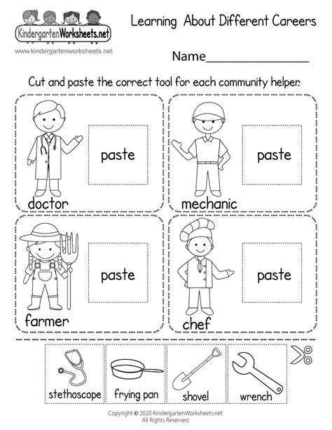 learning careers worksheet  kindergarten learning