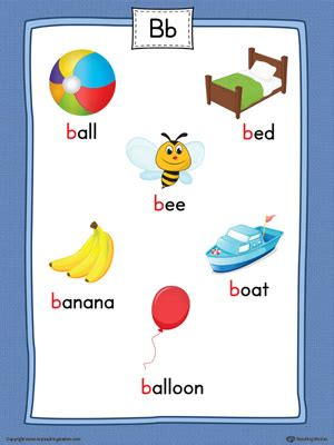 say and trace letter b beginning sound words in color 115 | Letter B Word List with Illustrations Poster Color