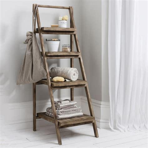 wood ladder shelf cottage bathroom look add this bathroom ladder shelf