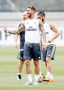 Sergio Ramos at evening Real Madrid training session ...