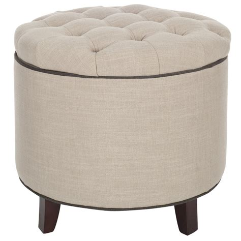 gray and white ottoman shop safavieh hudson white grey round storage ottoman at