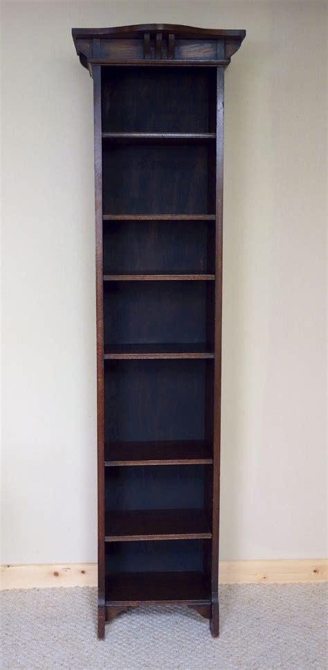 6ft Tall Narrow Oak Bookcase Art Nouveau 300340