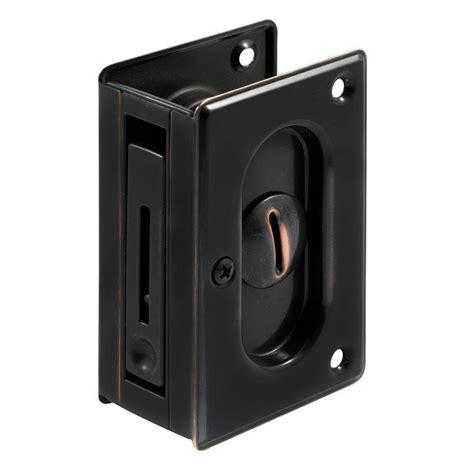 pocket door lock prime line 3 3 4 in classic bronze pocket door privacy