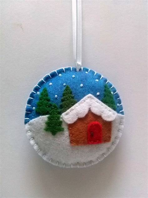 felt christmas ornament christmas village snow by dusicrafts