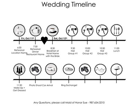 wedding itinerary templates  schedule templates
