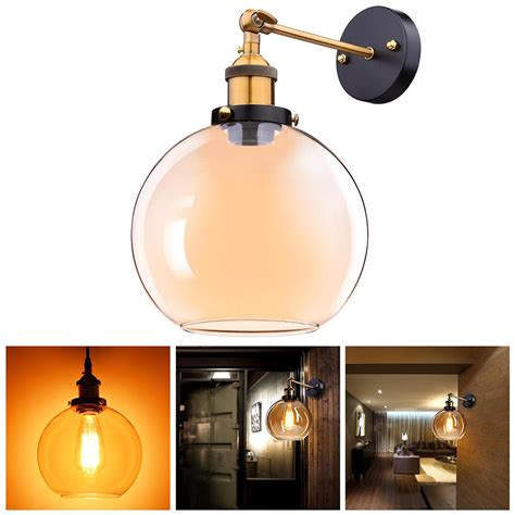 vintage retro industrial barn wall l sconce light glass