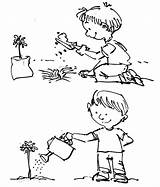 Coloring Plant Watering Pages Tree Arbor Planting Plants Drawing Seed Growing Template Plantation Sketch Seeds Clipart Place Flower Child Tiny sketch template