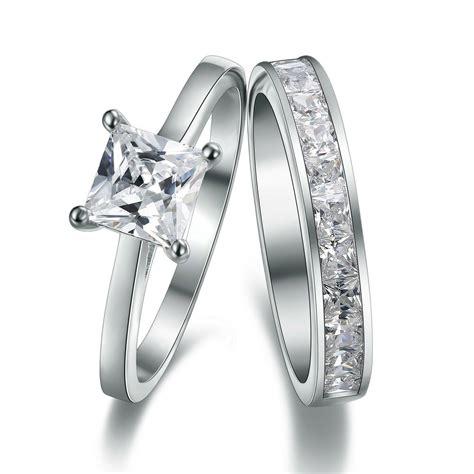 platinum 925 sterling silver simulated diamond engagement wedding ring ebay