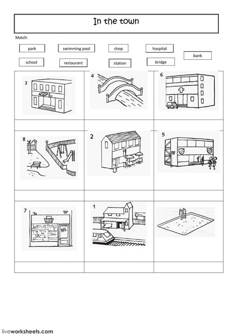 places  town  worksheet     exercises