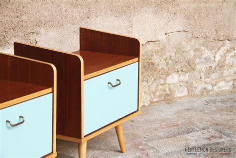 paire de chevet vintage table de nuit bleu vert lagon