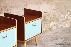 Table De Chevet Bleu : paire de chevet vintage table de nuit bleu vert lagon ~ Preciouscoupons.com Idées de Décoration