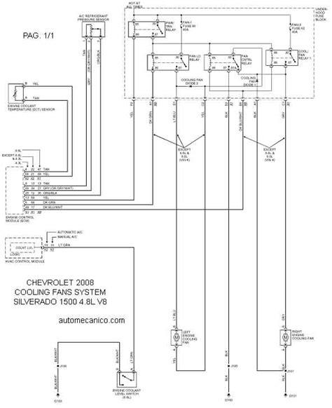 chevrolet cooling fans system diagramas ventiladores abanicos motores 2008 mecanica