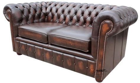 Ebay Settees Leather by New Chesterfield 2 Seater Sofa Settee Antique Brown Real
