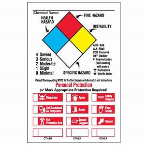 chemical hazard warning labels nfpa diamond format With chemical hazard label