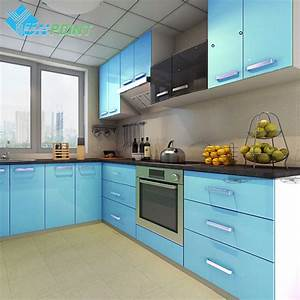 60cmx3m kitchen cabinet renovation stickers blue diy With kitchen colors with white cabinets with glossy sticker paper