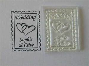 personalised postage clear stamp with hearts for wedding With postage stamps for wedding invitations uk