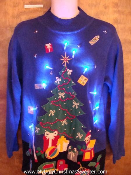 ugly light up christmas sweaters bright blue light up ugly xmas sweater with awesome tree