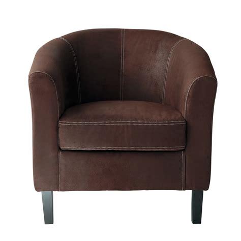fauteuil en microfibre marron baltimore maisons du monde