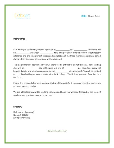job offer letter template uk job offers inductions