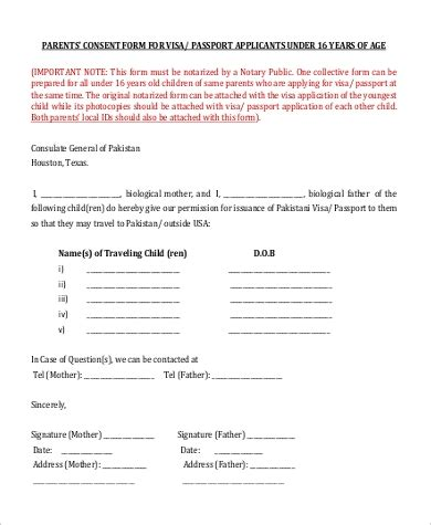 sample parental consent form  examples