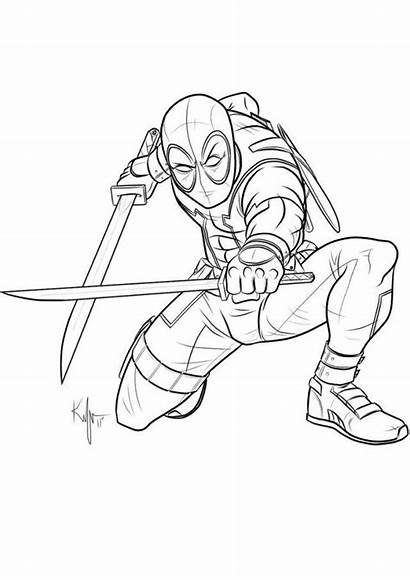 Deadpool Coloring Pages Coloriage Kaufee Uncanny Printable