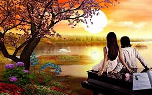 Romantic, Love, Love, Couple, Nature, Swan, Lake, Sunset, Spring