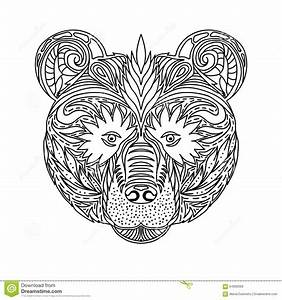 Wildes Tier Der Schwarzweiss Verzierungsgesichter Des