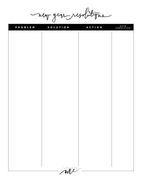 new years resolutions printable worksheets with me