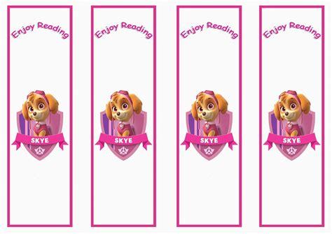 paw patrol bookmarks birthday printable