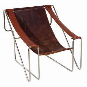 Italian Leather Sling Back Chair at 1stdibs