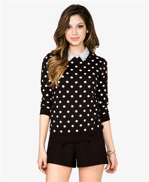 polka dot sweater forever 21 polka dot sweater in black black ivory lyst