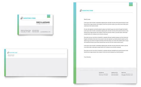 company stationery template pages auditing firm business card letterhead template design