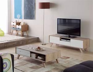 Ensemble Salon Scandinave : meuble tv table basse scandinave ~ Teatrodelosmanantiales.com Idées de Décoration