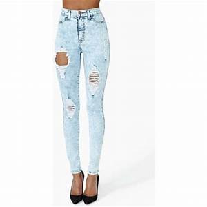Jeans: ripped skinny jeans, high waisted jeans, light blue ...