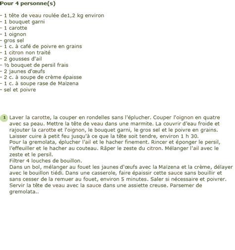 cuisiner tete de veau recette tête de veau poulette gremolata au citron facile et rapide