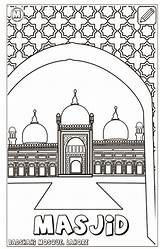 Coloring Islam Pillars Mosque Pages sketch template
