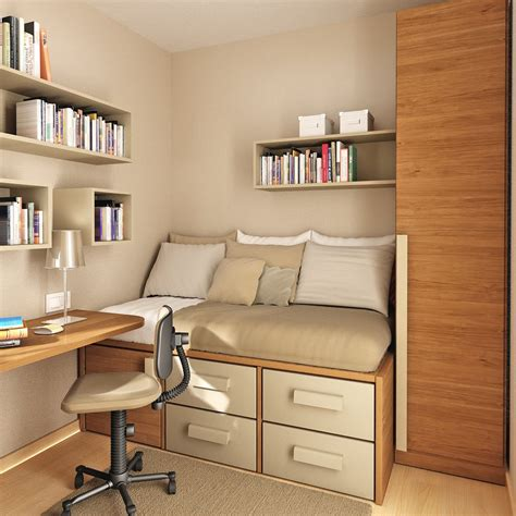 Bedroom Cabinet Design For Small Spaces by Modern Minimalist 3d Bedroom Layout With Bookcase