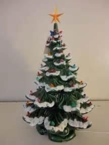 vintage ceramic christmas tree atlantic mold c 1974 w lights flocked 23 quot ebay