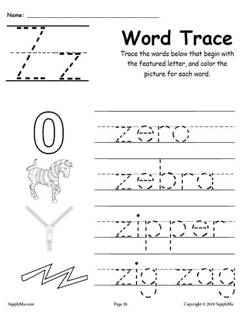 letter z words free alphabet tracing worksheet supplyme 619 | Alphabet Word Trace series Z 1024x1024