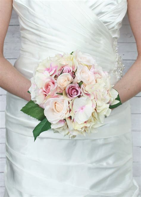 Pink And Cream Rose Hydrangea Bouquet Silk Wedding Flowers