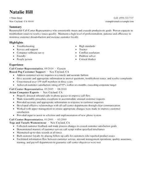 Sle Resume Call Center by 7 8 Call Center Duties For Resume Oriellions