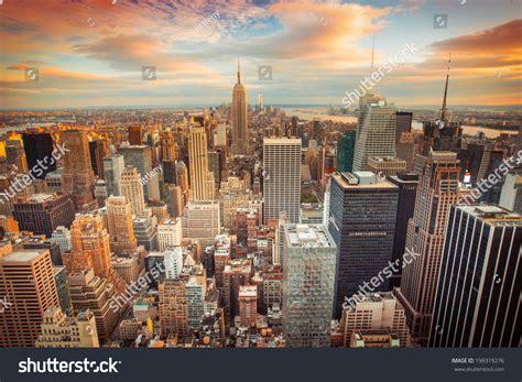 Sunset Aerial View New York City Stock Photo 199319276