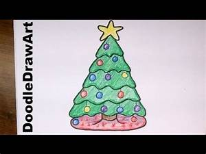 Drawing: How To Draw a Cute Cartoon Christmas Tree - Easy ...