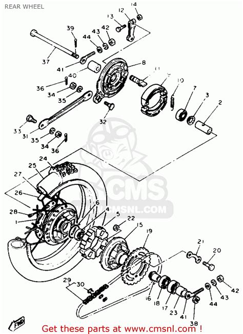 yamaha pw80 1994 r usa canada rear wheel schematic partsfiche