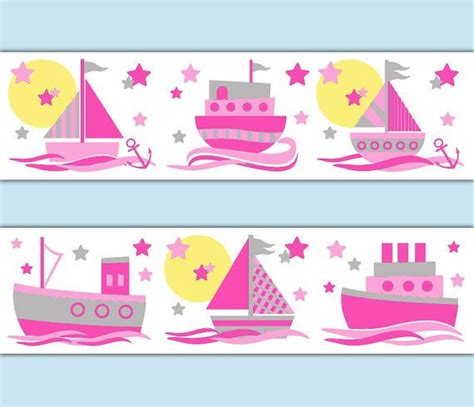 nautical nursery border sailboat decal wall pink grey gray stickers room decor baby