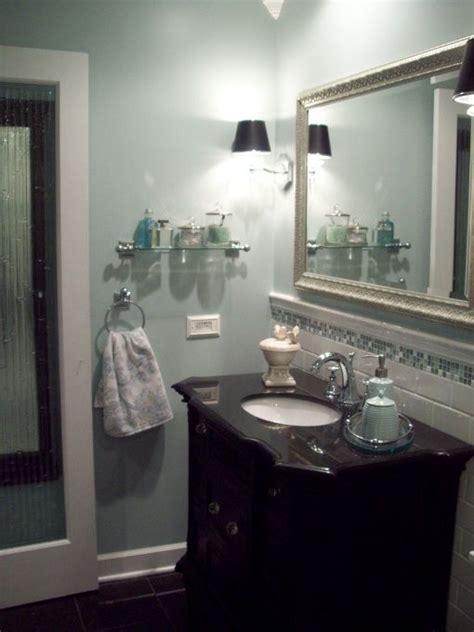 spa blue bathroom makeover  black white blue