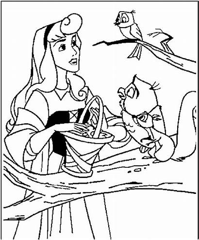Coloring Princess Disney Pages Aurora Animals