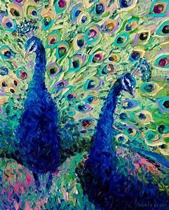 """Gemini Peacocks"" - Fingerpainting by Iris Scott. Original ..."