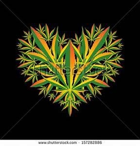 Marijuana Leaf Heart Symbol Vector Illustration Stock