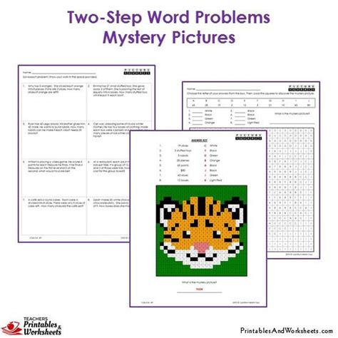 3rd Grade Two Step Word Problems Mystery Pictures Coloring Worksheets  Printables & Worksheets